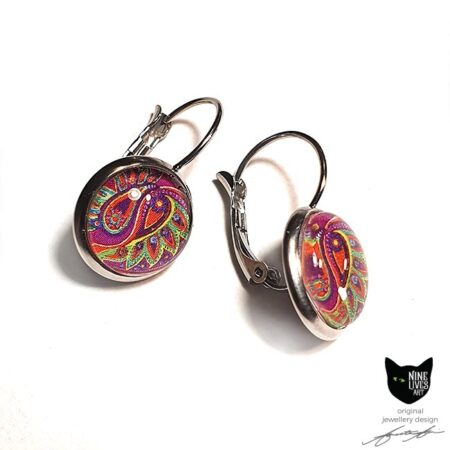 Paisley Flower earrings in pink and green colours cabochon setting in lever back hypoallergenic stainless steel