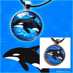 Orca art pendant product collage photo