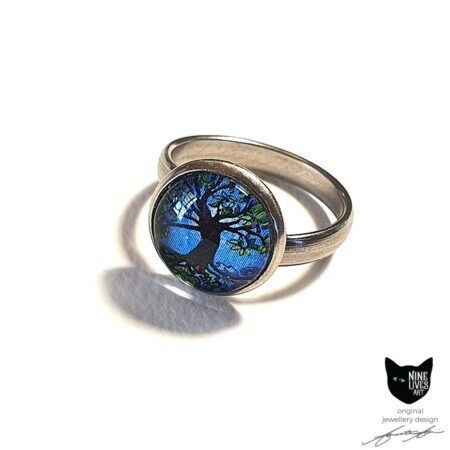 12mm glass dome ring - tree of life in blue hues, hypoallergenic stainless steel ring base setting