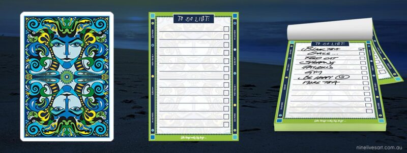 To do list banner featuring artwork elements and page layout on dark blue background