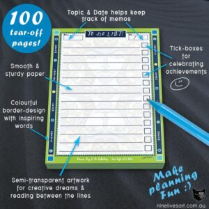 To Do List A6 size with 100 tear off pages Bright colourful border design and semi-transparent artwork on each page
