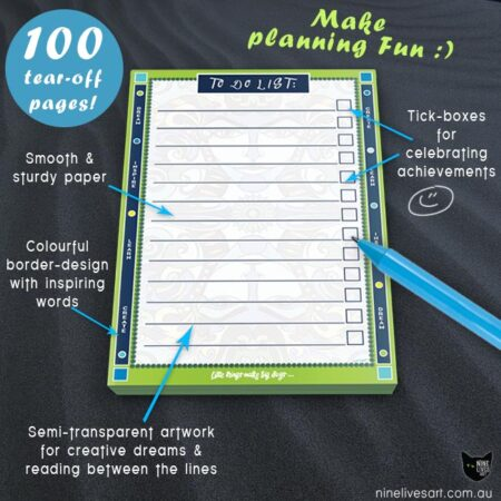 Colourful To Do list with features to make planning more fun: 100 tear-off pages
