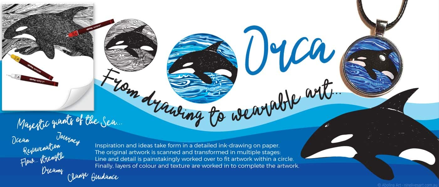 The Orca - ocean inspired artwork transformed to striking art pendants by Abolina Art