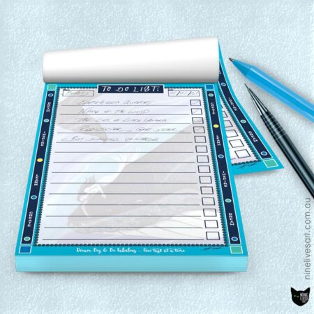 Whale dreaming blue border to do list by Abolina Art