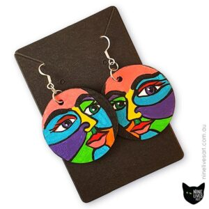 Bright colourful face earrings by Abolina Art