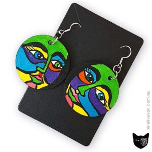 40mm circle hand painted earrings with bold colourful faces