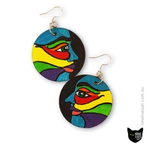 Original hand-painted face earrings in bold colours