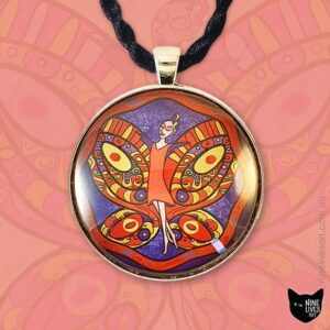 40mm pendant featuring red fairy flying on indigo sky