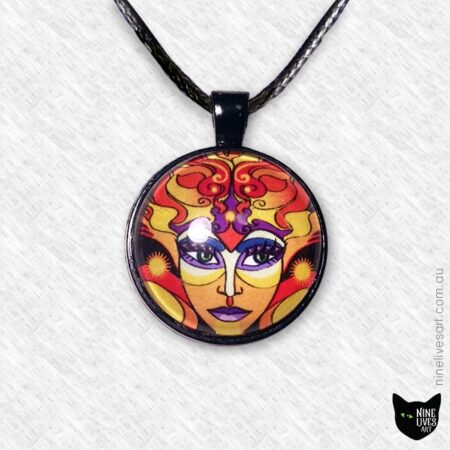 25mm sun goddess pendant set in black bezel