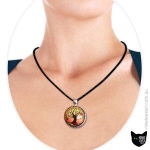 Model wearing 25mm tree of life pendant