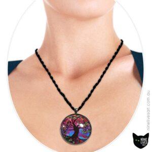 Model wearing 40mm Purple Haze tree of life pendant