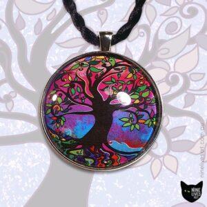 40mm purple haze tree of life art pendant on tree art background