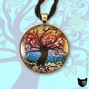 40mm Rainbow winter tree of life art pendant