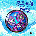 Butterfly fairy pendant in striking colours set under glass dome with silver coloured bezel and strung on cord for wearing